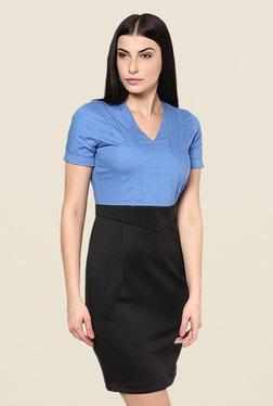 Kaaryah Blue & Black Solid Relaxed Fit Dress
