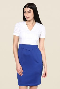 Kaaryah White & Blue Solid Dress