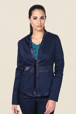 Kaaryah Blue Satin Lapel Solid Jacket