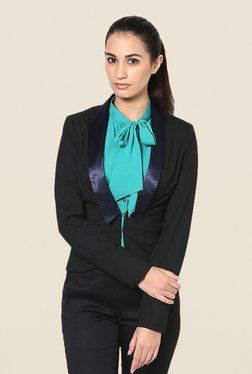 Kaaryah Black Satin Lapel Solid Jacket