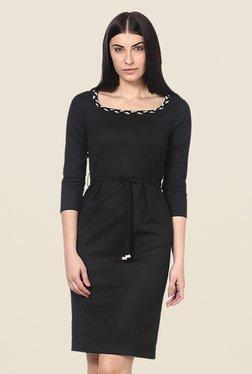 Kaaryah Black Solid Square Neck Dress