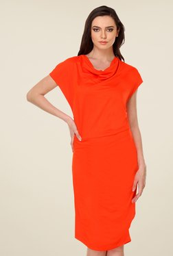 Kaaryah Orange Solid Relaxed Fit Dress