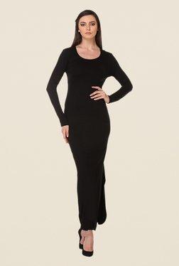 Kaaryah Black Solid Round Neck Dress