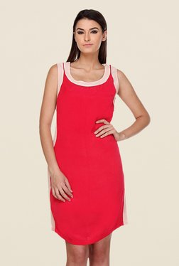 Kaaryah Red Solid Round Neck Dress