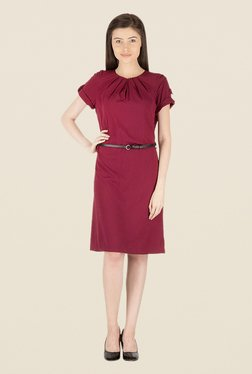 Kaaryah Wine Solid Round Neck Dress