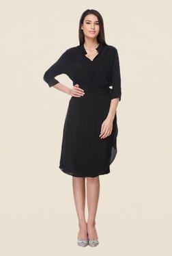 Kaaryah Black Solid Band Neck Dress