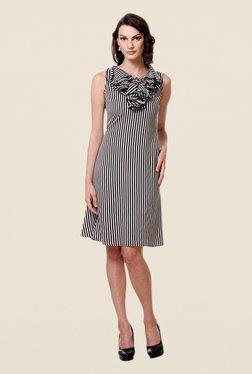 Kaaryah Black & White Striped Dress