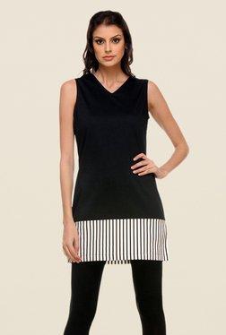 Kaaryah Black Solid V Neck Dress