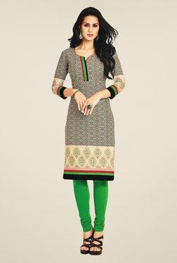 Salwar Studio Beige & Black Cotton Printed Unstitched Kurti