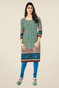 Salwar Studio Grey & Blue Floral Print Unstitched Kurti