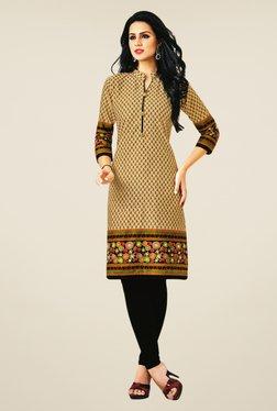 Salwar Studio Beige Cotton Paisley Print Unstitched Kurti