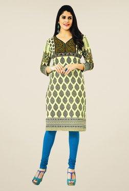 Salwar Studio Lime & Black Floral Print Unstitched Kurti