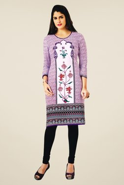 Salwar Studio Purple & White Floral Print Unstitched Kurti