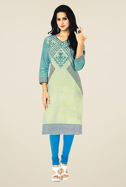 Salwar Studio Blue Cotton Striped Unstitched Kurti