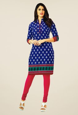 Salwar Studio Blue Cotton Floral Print Unstitched Kurti