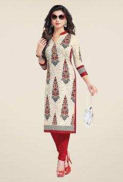 Salwar Studio Cream & Red Floral Print Unstitched Kurti