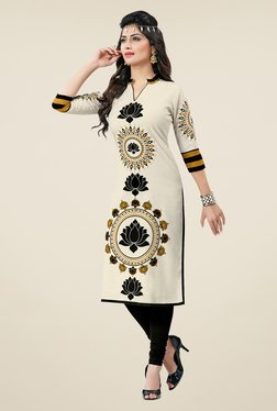 Salwar Studio Cream & Black Floral Print Unstitched Kurti