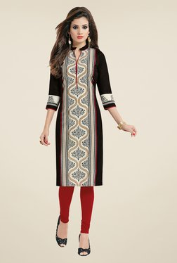 Salwar Studio Black & Red Floral Print Unstitched Kurti