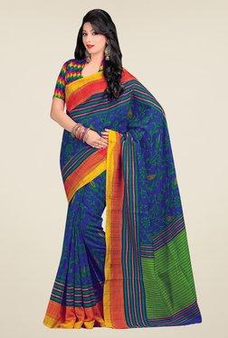 Salwar Studio Blue & Green Cotton Blend Floral Print Saree