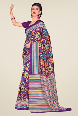Salwar Studio Purple Cotton Blend Floral Print Saree