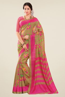 Salwar Studio Pink & Beige Cotton Blend Floral Print Saree
