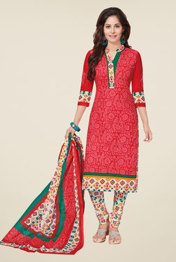 Salwar Studio Coral & White Floral Print Dress Material