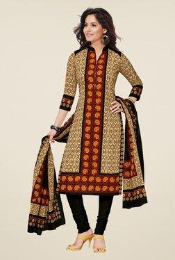 Salwar Studio Beige & Black Cotton Printed Dress Material