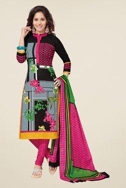 Salwar Studio Black & Pink Floral Print Dress Material