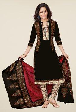 Salwar Studio Black & Beige Cotton Printed Dress Material