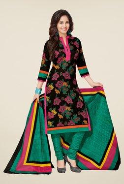 Salwar Studio Black & Green Floral Print Dress Material