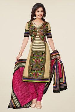 Salwar Studio Beige & Pink Cotton Printed Dress Material