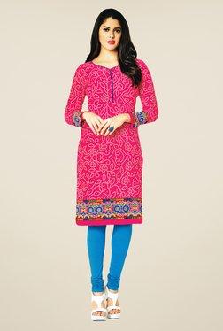 Salwar Studio Pink Cotton Floral Print Unstitched Kurti