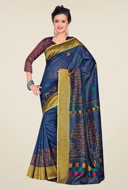 Salwar Studio Blue & Gold Cotton Blend Floral Print Saree
