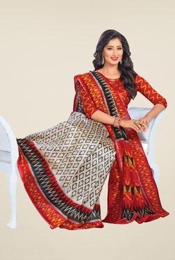 Salwar Studio Red & White Cotton Blend Printed Saree