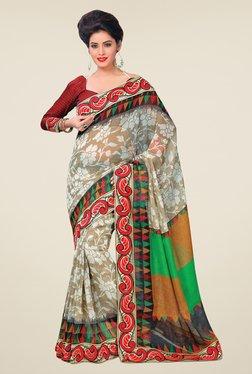 Salwar Studio Off White & Red Floral Print Saree