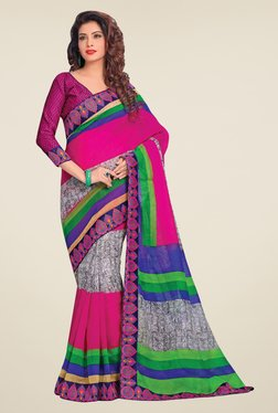 Salwar Studio Pink & Grey Cotton Blend Printed Saree