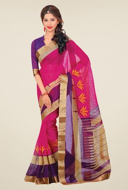 Salwar Studio Pink & Purple Cotton Blend Printed Saree