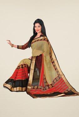 Salwar Studio Beige & Black Cotton Blend Printed Saree