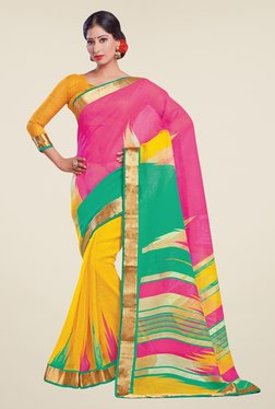Salwar Studio Pink & Yellow Cotton Blend Printed Saree