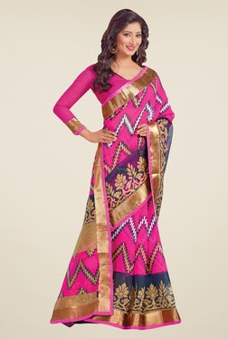 Salwar Studio Pink Cotton Blend Printed Saree