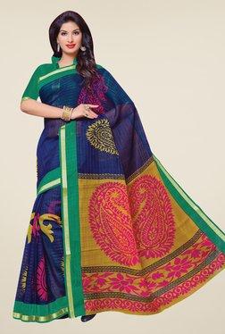 Salwar Studio Navy & Green Cotton Blend Paisley Print Saree