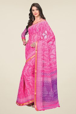 Salwar Studio Pink & Purple Cotton Blend Paisley Print Saree