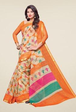 Salwar Studio Beige & Orange Cotton Blend Floral Print Saree