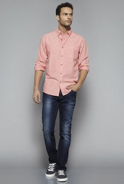 Westsport By Westside Peach Solid Shirt