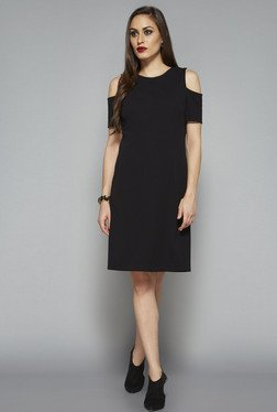 Wardrobe by Westside Black Solid Dress