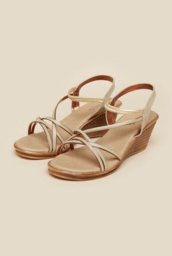Inc.5 Beige & Gold Wedge Heeled Sandals