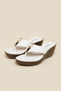 Inc.5 White Wedge Heeled Sandals