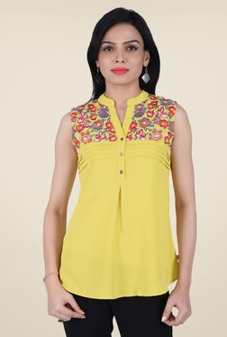 Juniper Mustard Embroidered Top