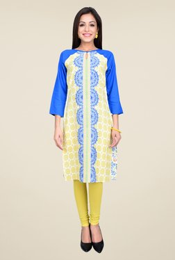 Juniper Blue & Yellow Printed Kurta