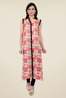 Juniper Peach Printed Kurta - Mp000000000432778